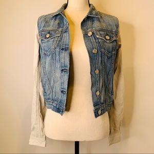 PRELOVED Jean Leather Sleeves Cool Jacket